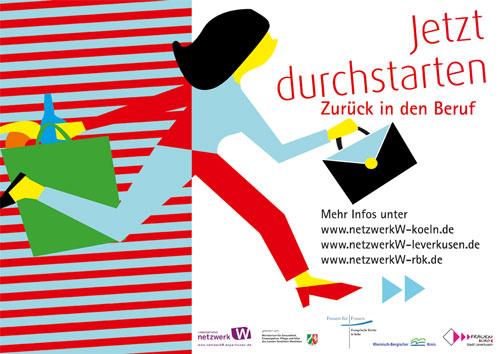 """Plakat """"Durchstarten Netzwerk W regional"""